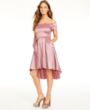 B. Darlin Juniors' Scalloped Off-The-Shoulder Dress