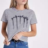 River Island Womens Petite Navy stripe 'unbreakable' T-shirt