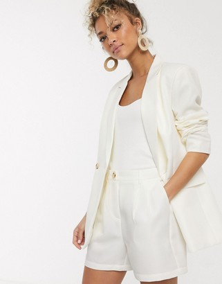 Pieces double breasted blazer in cream