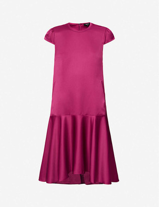 Me And Em Sculptural frilled-hem satin mini dress