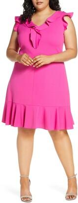 Donna Ricco Ruffle V-Neck Dress