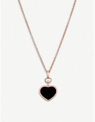 Chopard Happy Hearts 18ct rose-gold, onyx and diamond pendant