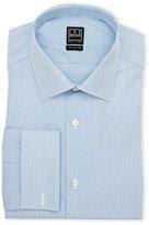 Ike Behar Blue & White Striped Regular Fit Dress Shirt