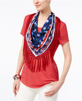 Style&Co. Style & Co Style & Co Petite T-Shirt With Printed Fringe Scarf, Created for Macy's