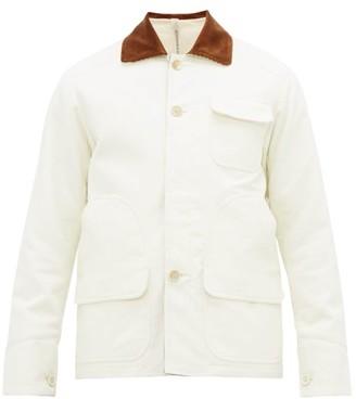 Aldo Maria Camillo - Corduroy-collar Brushed-cotton Utility Jacket - Mens - White