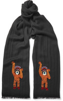Paul Smith Monkey-embroidered Wool Scarf - Black