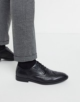 Asos Design DESIGN brogue shoes in black faux leather