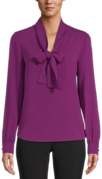 Bar III Tie-Neck Bow Blouse, Created for Macy's