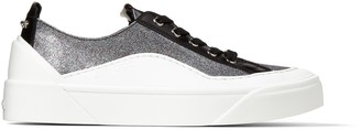 Jimmy Choo CHOO V.B.C LACE UP/F Multi and Black Fine Glitter Fabric and Liquid Leather Trainers
