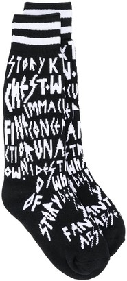 Kokon To Zai Letter Knit Stretch Socks