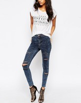 Asos Rivington Ankle Grazer Jegging In Storm Wash With Extreme Rips
