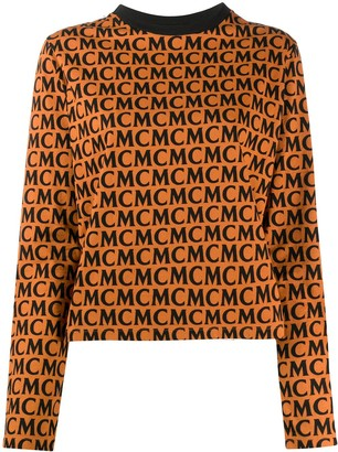 MCM Long-Sleeve Logo Print Top