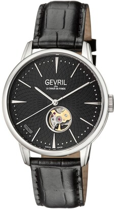 Gevril Men's Mulberry Swiss-Automatic Embossed Leather Strap Watch, 41mm