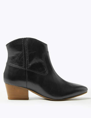 Marks and Spencer Leather Block Heel Western Ankle Boots