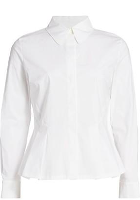 Escada Nadasha Stretch-Cotton Peplum Shirt