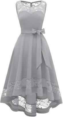 Gardenwed 50s Audery Hepburn Dinner Dance Dress Vintage V-Neck A-line Flared High Tea Hen Night Funeral Bridesmaid Dress Grey L