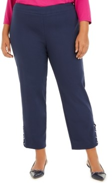JM Collection Plus Size Ankle-Laced Pull-On Pants, Created for Macys