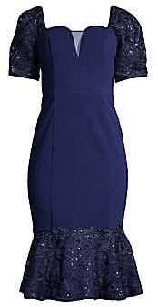 Aidan Mattox Women's Lace Flounce Puff-Sleeve Cocktail Dress