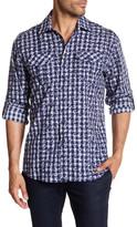 James Campbell Jameson Checkered Floral Woven Shirt