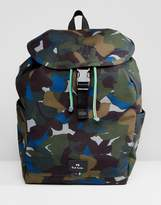 Ps Paul Smith Canvas Floral Camo Backpack In Khaki