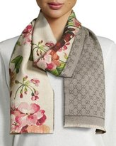 Gucci Miniorophin Floral & Logo Wool Scarf, White/Pink