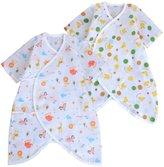 JISEN® Unisex-Baby Gauze Cotton Short Sleeve Kimono Baby Onesies,Butterfly Style