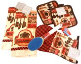 NIDCO Kitchen Gift Set - Checker Board Bistro Chef - Bundle of 5 Items: 2 Dish Towels, Oven Mitt, Set of 2 Pot Holders, and Brillo Soap Dispensing Scrub Brush