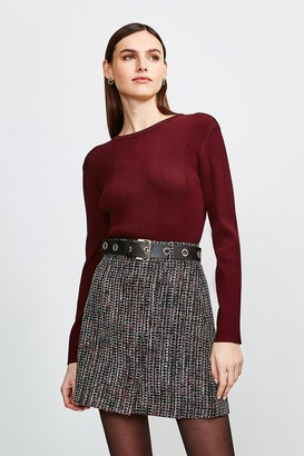 Karen Millen Tweed Eyelet Belted Skirt