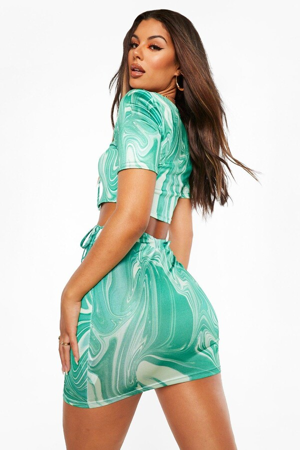 Thumbnail for your product : boohoo Marble Print Cut Out Strappy Mini Skirt