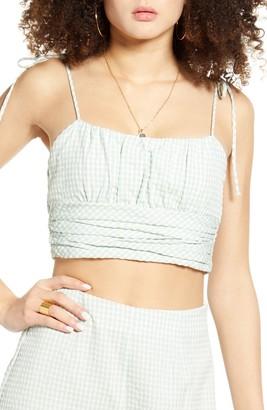 Blank NYC Gingham Tie Shoulder Crop Top