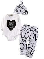 Charm Kingdom Baby NEWEST ADDITION TO THE FAMILY Long Sleeve Bodysuit and LOVE Pants Outfit with Hat