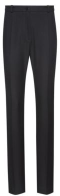 HUGO BOSS Regular Fit Pants In Stretch Crepe With Metallic Button - Black