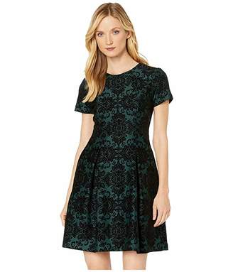 Vince Camuto Flocked Scuba Cap Sleeve Fit-and-Flare Dress