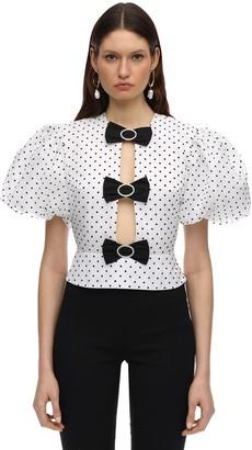 MARIANNA SENCHINA Polka Dots Organza Top W/ Puff Sleeves