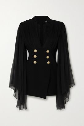 Balmain Gathered Silk-chiffon And Crepe Mini Dress - Black