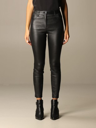 Theory Pants Jean Trousers In Skinny Fit Leather