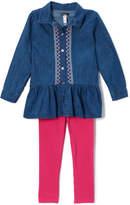 KensieGirl Blue Ruffle Button-Up Top & Leggings - Infant, Toddler & Girls
