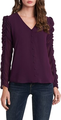 1 STATE Ruched Sleeve Button Front Blouse