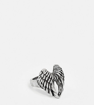 Reclaimed Vintage inspired ring with wings detail in antique silver