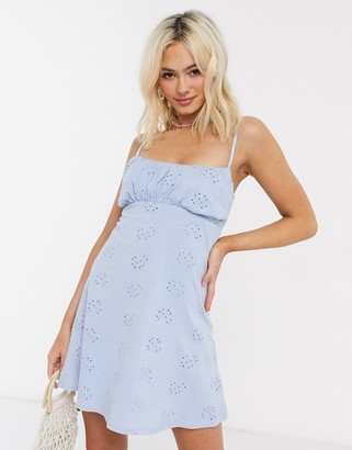 ASOS DESIGN broderie ruched front mini strappy dress in chambray
