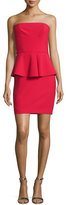 Elizabeth and James Laurel Strapless Peplum Mini Dress, Cardinal