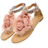 Caddy Wolfclaw Women Sweet Bohemia Flowers Flats Sandals Beaded Ankle T-strap Dress Beach Thong Sandals