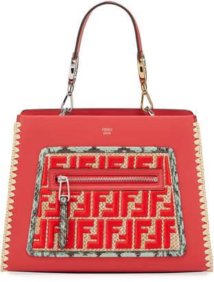 Fendi Runaway Small Python-Print Leather FF Satchel Bag