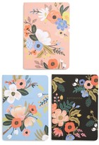 Rifle Paper Co. Lively 3-Pack Floral Notebooks - Black