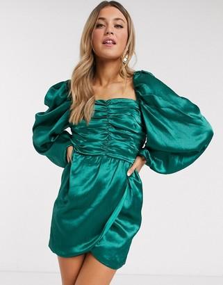 In The Style x Lorna Luxe puff sleeve satin mini dress in green