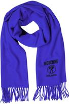 Moschino Solid Wool Logo Long Scarf w/Fringe