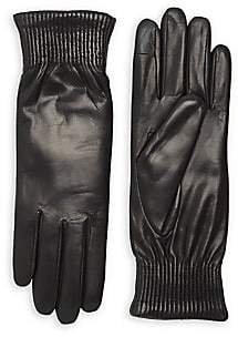 Agnelle Women's Soraya Rabbit Fur-Lined Leather Gloves