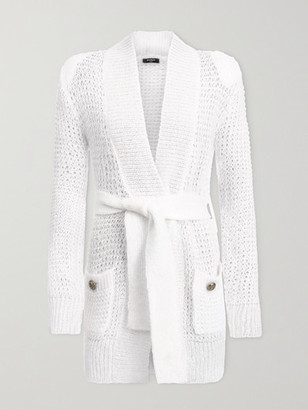 Balmain Belted Open-knit Mohair-blend Cardigan - White