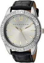 Sean John Men's 'Bond' Quartz Metal and Leather Dress Watch, Color:Black (Model: SJC0171003)