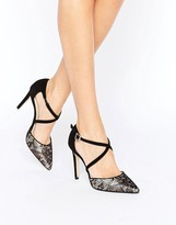 Dune Cordelia Lace Cross Strap Heeled Shoes